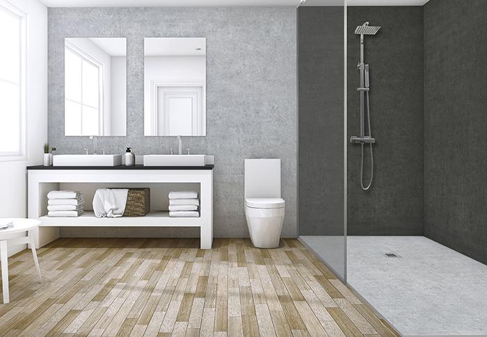 3d rendering bathroom near sea view
